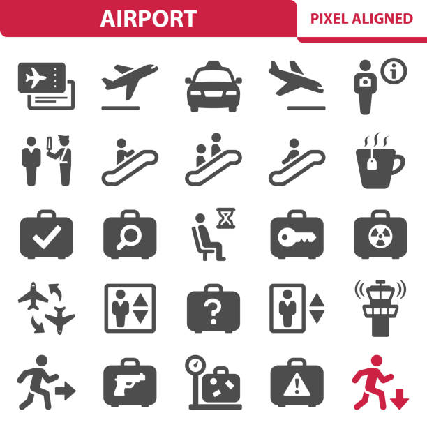 Airport Icons Professional, pixel perfect icons, EPS 10 format. airport symbols stock illustrations