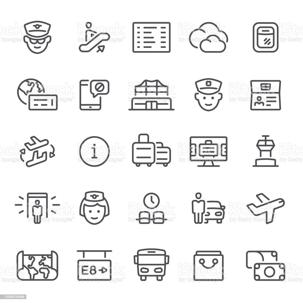 Airport Icons vector art illustration