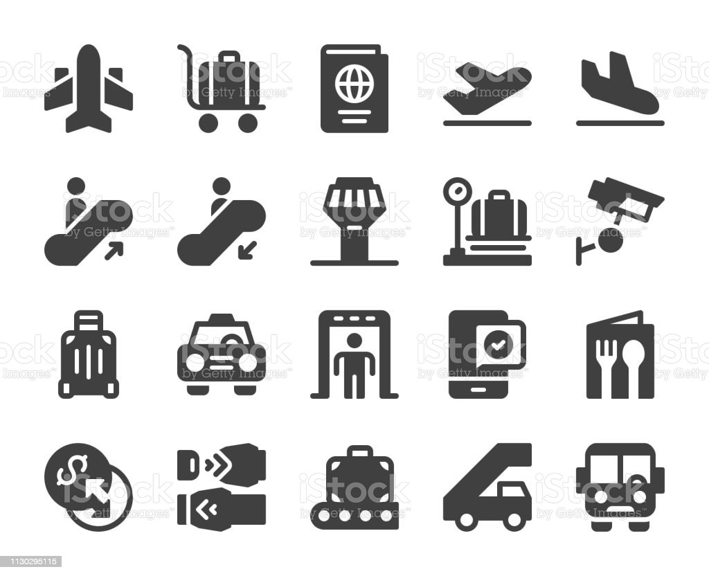 Airport - Icons vector art illustration
