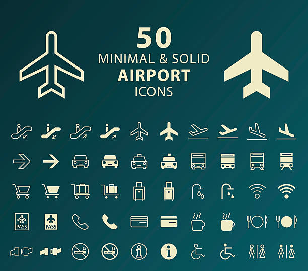 Airport Icons. Set of 50 Minimal and Solid Airport Icons. Vector Isolated Elements. airport clipart stock illustrations