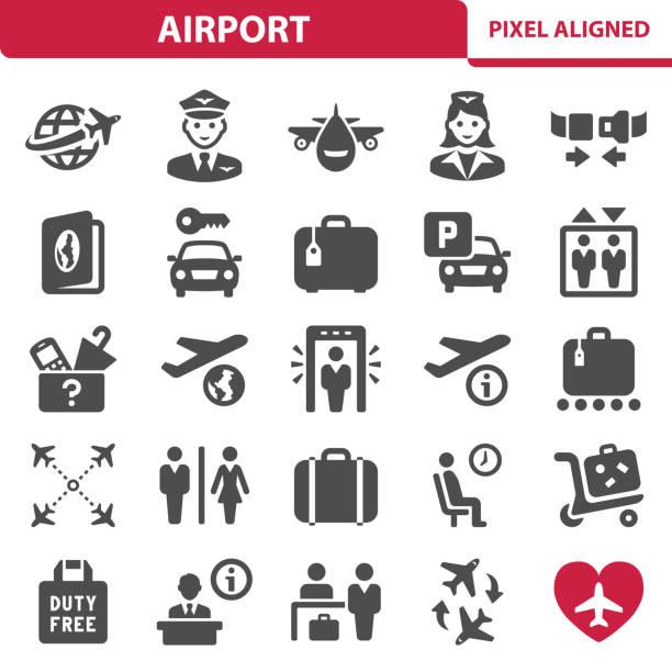 stockillustraties, clipart, cartoons en iconen met luchthaven pictogrammen - stewardess