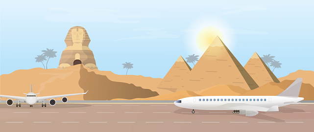 Airport in egypt. The runway against the backdrop of the pyramids and the Egyptian Sphinx. Vector.