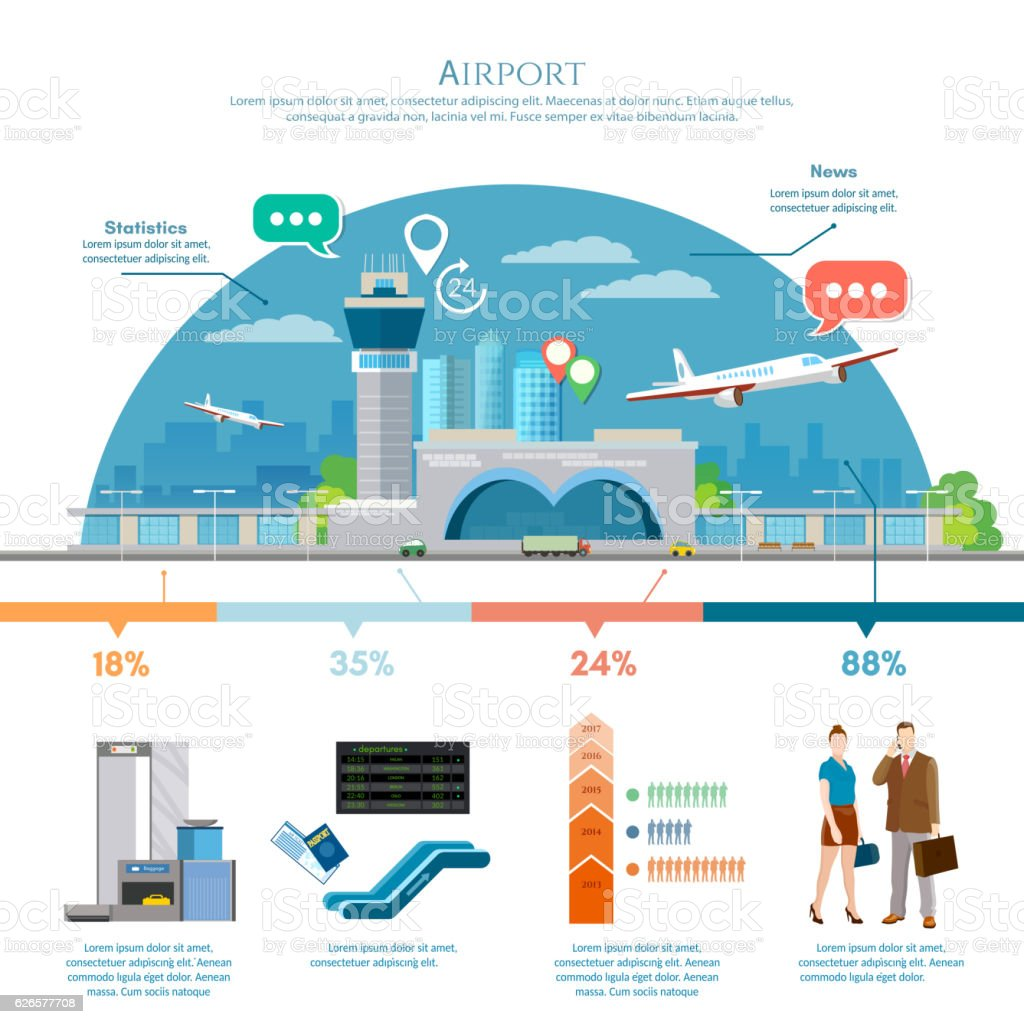 Airport infographic, air travel element passengers, aircraft - ilustración de arte vectorial