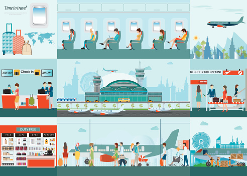 Airport  infographic of Passenger airline at airport terminal.
