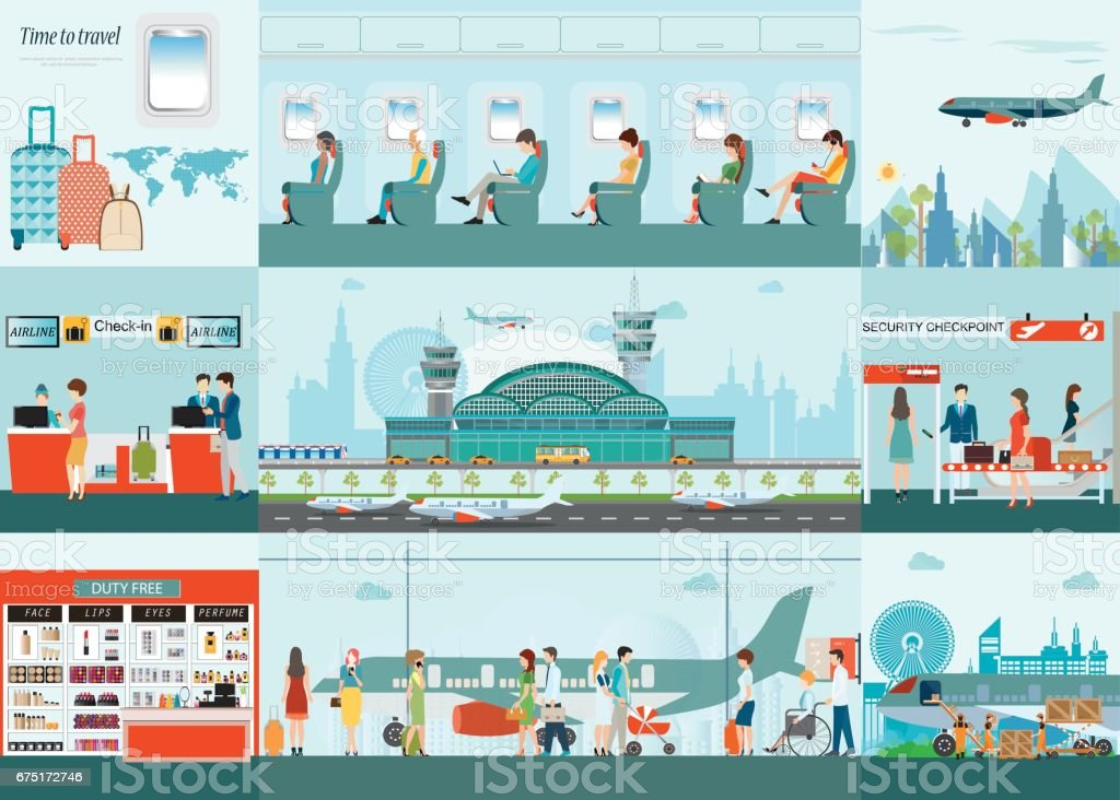 Aéroport infographique de l'avion de passager au terminal de l'aéroport. - Illustration vectorielle