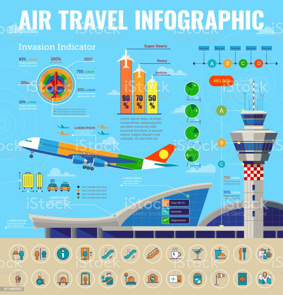 Airport Infographics vector art illustration