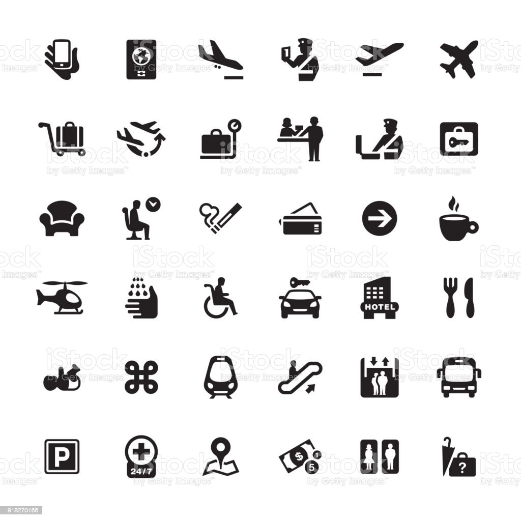 Airport Information icons pack - illustrazione arte vettoriale