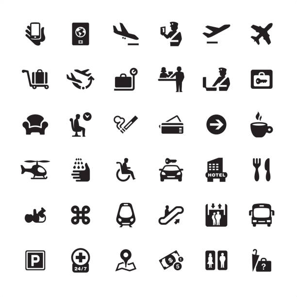 airport information icons pack - airport stock illustrations