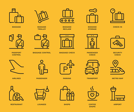 Airport Information Icons.