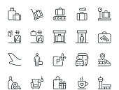 Airport Information Icons, Monoline concept The icons were created on a 48x48 pixel aligned, perfect grid providing a clean and crisp appearance. Adjustable stroke weight.