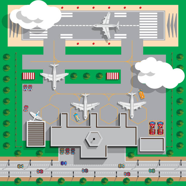 Airport Infrastructure. View from above. Vector illustration. airport drawings stock illustrations