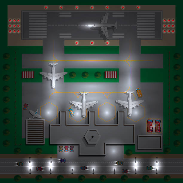 Airport Infrastructure. Night. View from above. Vector illustration. airport drawings stock illustrations