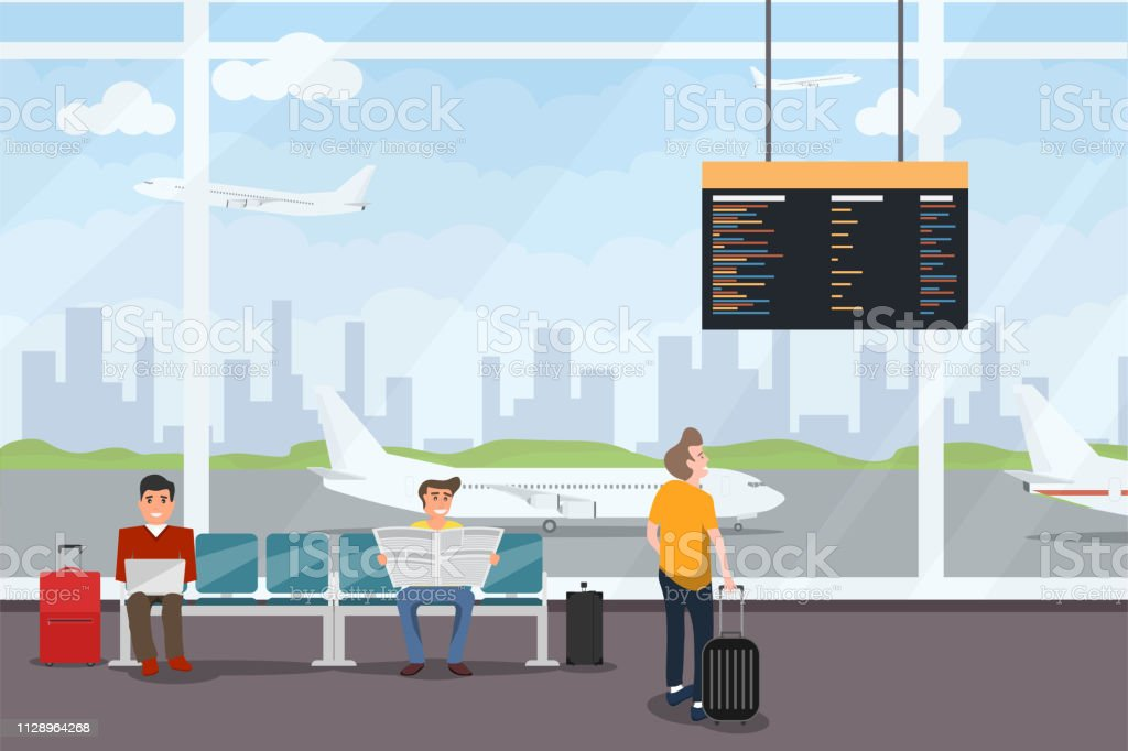 Airport Interior Waiting Hall Departure Lounge Modern Terminal Smiling People Sitting And Standing In Airport Arrival Waiting Room Or Departure Lounge With Chairs And Information Panels Stock Illustration Download Image Now