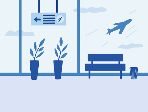 Airport interior. Waiting room, departure hall, airport terminal. View of the airfield terminal hall on airplanes. Flat style vector illustration.