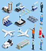 Airport isometric people collection of isolated airport ground equipment and facilities airplane images and human characters vector illustration