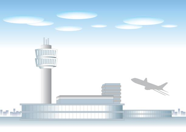 Airport landscape image Vector background of city area airport silhouettes stock illustrations