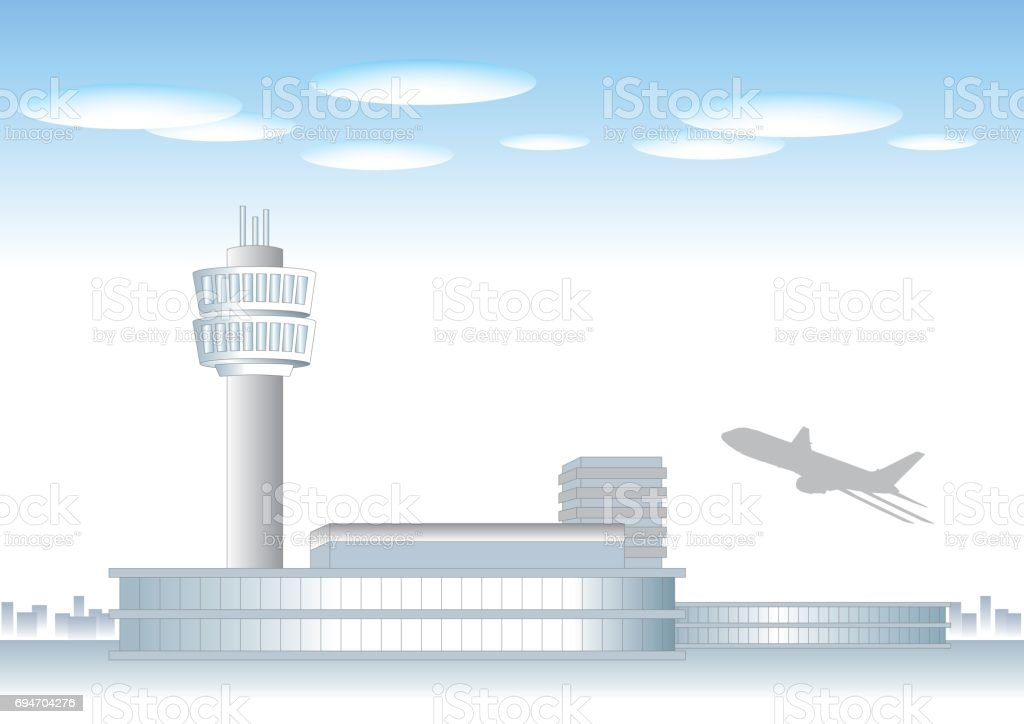 Airport landscape image vector art illustration