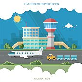 Airport landscape. Travel Lifestyle Concept of Planning Flat style vector