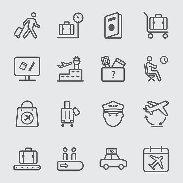 airport line icon set 1 - business travel stock illustrations, clip art, cartoons, & icons