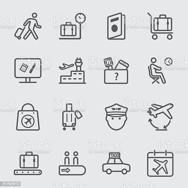공항 꺾은선형 아이콘 세트 1 건강관리와 의술에 대한 스톡 벡터 아트 및 기타 이미지
