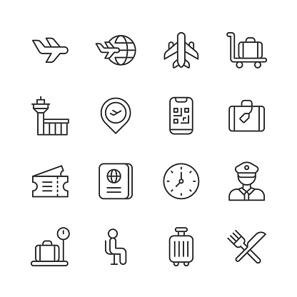 Airport Line Icons. Editable Stroke. Pixel Perfect. For Mobile and Web. Contains such icons as Airplane, Checkout, Currency Exchange, Flight, Flying, Luggage, Passenger, Passport, Safety, Schedule, Suitcase, Terminal, Ticket, Transport, Travel, Vacation.