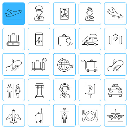 Airport Line Icons. Editable Stroke.