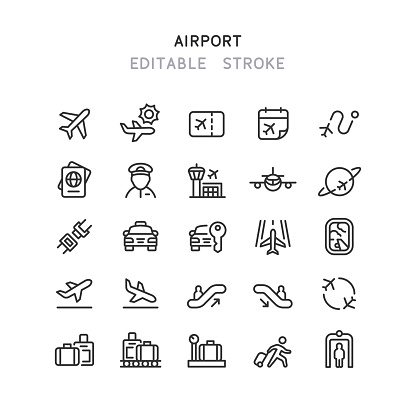 Set of airport line vector icons. Editable stroke.