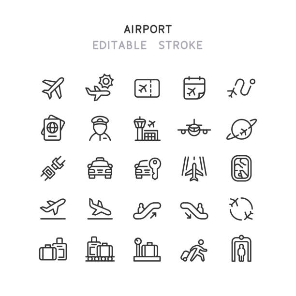 Airport Line Icons Editable Stroke Set of airport line vector icons. Editable stroke. airport icons stock illustrations