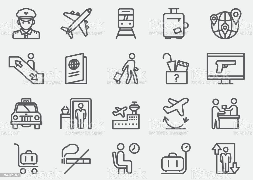 Ícones de linha Aeroporto | EPS 10 - ilustração de arte em vetor