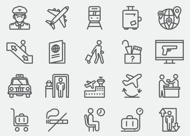 airport line icons | eps 10 - airport stock illustrations