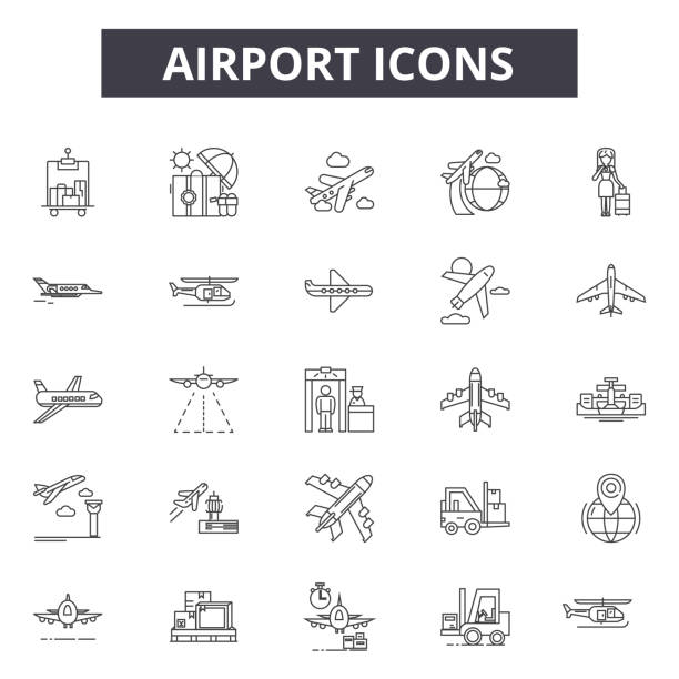 Airport line icons for web and mobile design. Editable stroke signs. Airport  outline concept illustrations Airport line icons for web and mobile. Editable stroke signs. Airport  outline concept illustrations airport icons stock illustrations
