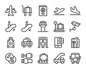 Airport Line Icons Vector EPS File.