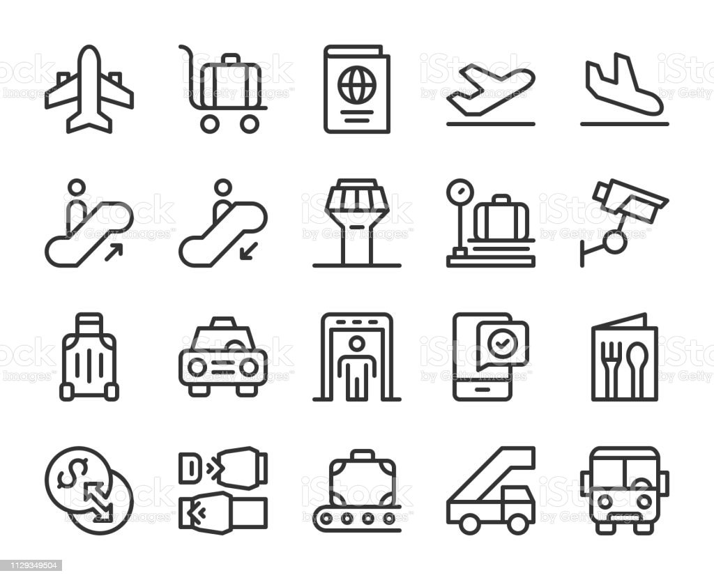 Airport - Line Icons vector art illustration