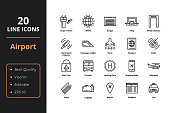 20 Airport Line Icons