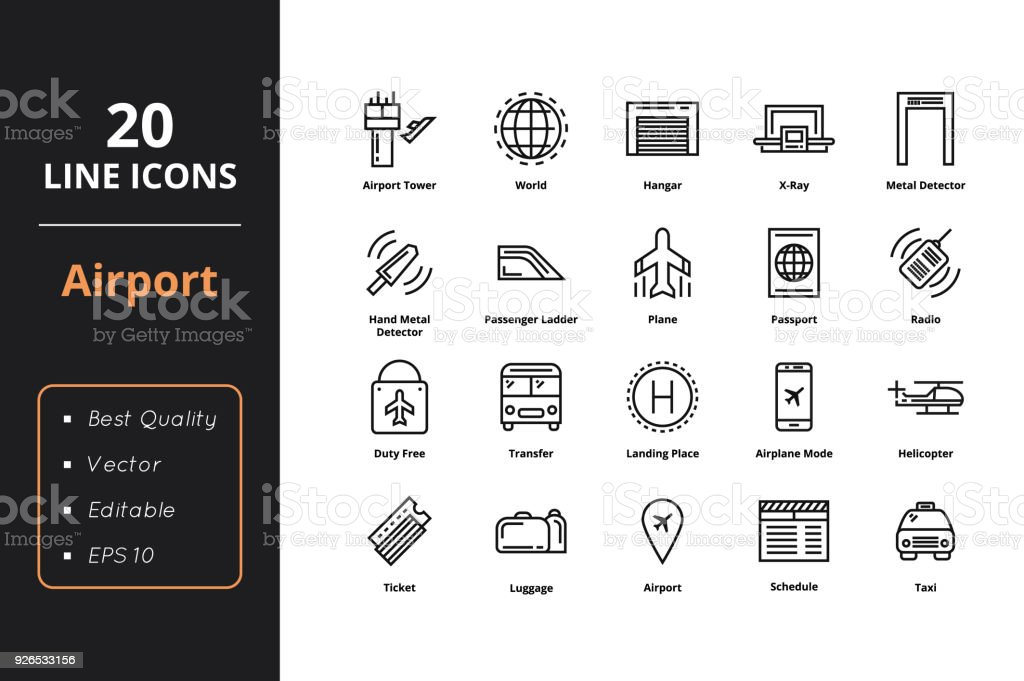 20 Airport Line Icons vector art illustration
