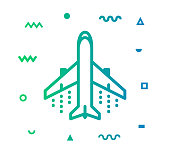 Airport outline style icon design with decorations and gradient color. Line vector icon illustration for modern infographics, mobile designs and web banners.