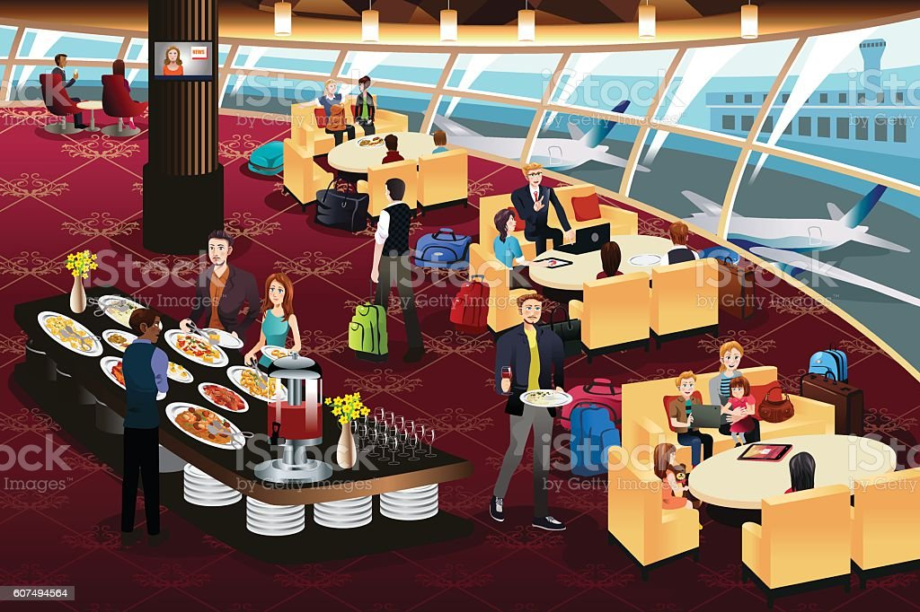 Airport Lounge Scene vector art illustration