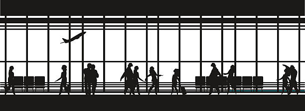 airport lounge vector vector illustration of the airport building waiting room large picture window, people silhouettes, mourners, horizontal poster, an information board Black and white airport silhouettes stock illustrations