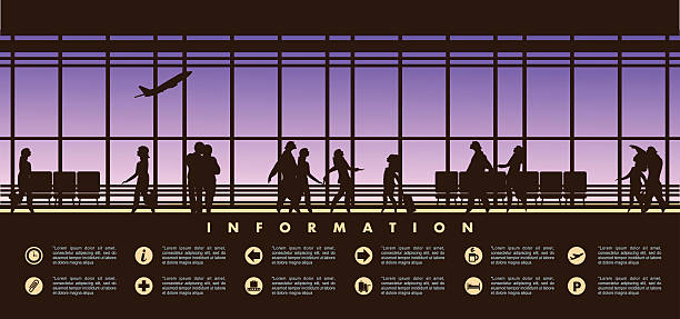 airport lounge vector vector illustration of the airport building waiting room large picture window, people silhouettes, mourners, horizontal poster, an information board with icons and text airport silhouettes stock illustrations