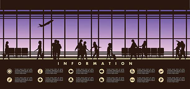 illustrations, cliparts, dessins animés et icônes de airport lounge vector - terminal aéroportuaire