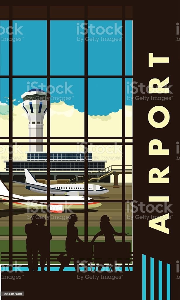 airport lounge vector vector art illustration