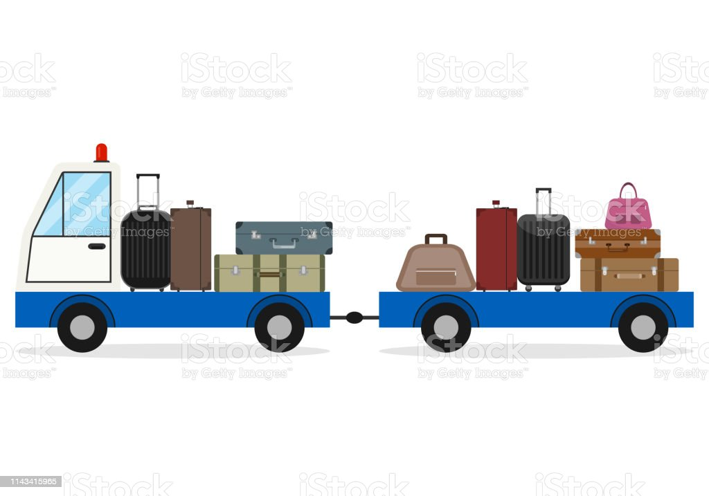 Airport luggage delivery car. Modern Luggage Towing Truck Airport...