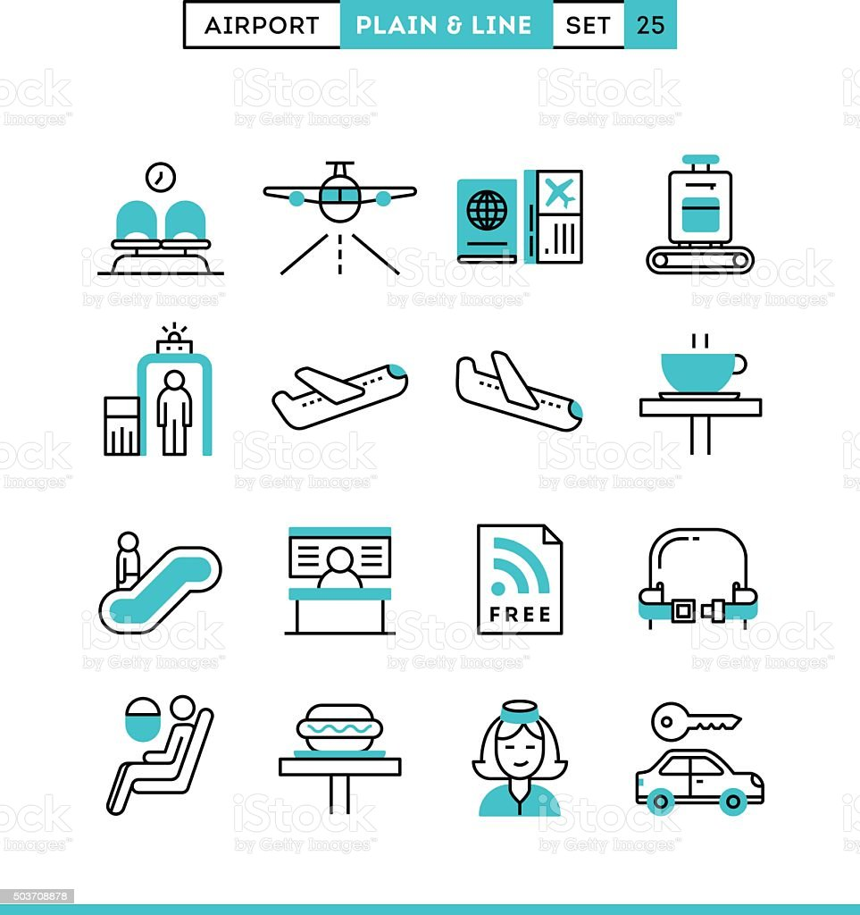 Airport, luggage scanning, flight, rent a car and more. vector art illustration
