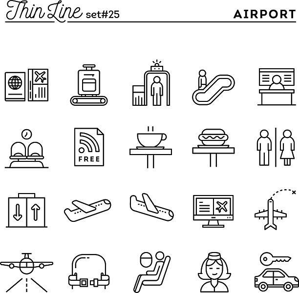 flughafen gepäck scannen, flug, mietwagen und mehr - fahrzeugsitz stock-grafiken, -clipart, -cartoons und -symbole