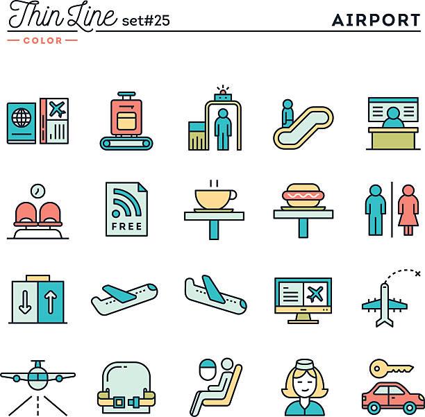 illustrazioni stock, clip art, cartoni animati e icone di tendenza di aeroporto di digitalizzazione dei bagagli, volo, noleggio auto e altro ancora - sedili aereo