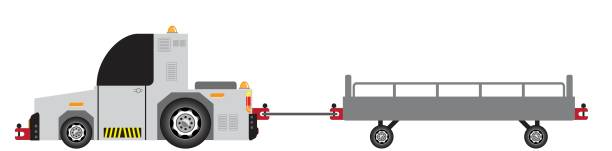 bildbanksillustrationer, clip art samt tecknat material och ikoner med flygplats bagage bogsering lastbil - traktor pulling
