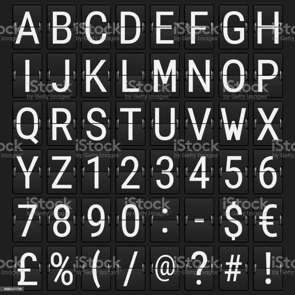Airport Mechanical Flip Board Panel Font vector art illustration