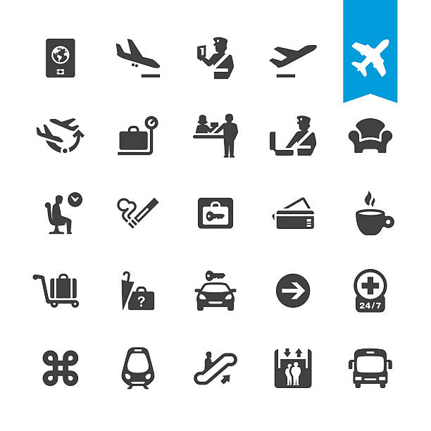 Airport navigation vector icons Airport navigation related icons BASE pack #41 airport icons stock illustrations