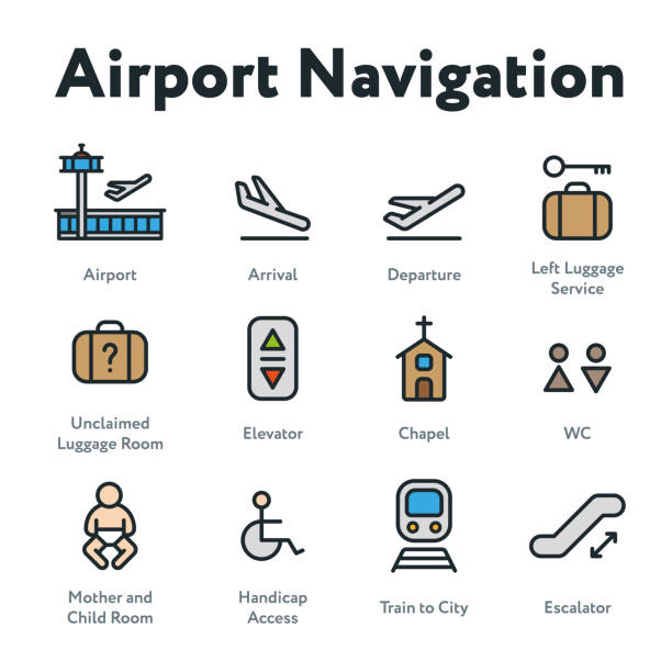 airport navigation wayfinding minimal color flat line outline stroke icon set. arrival, departure, elevator, escalator, chapel, mother and child room. - wayfinding icons stock illustrations, clip art, cartoons, & icons