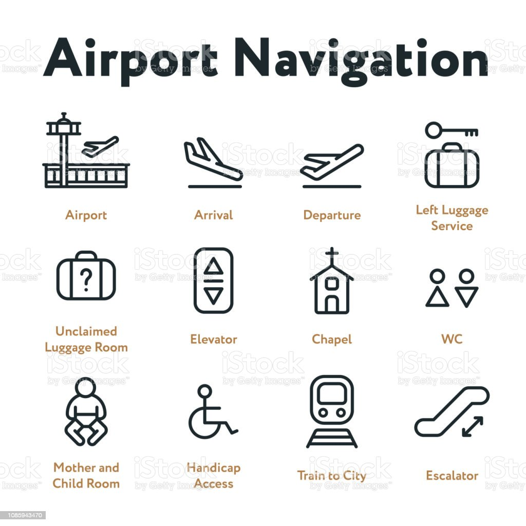 Airport Navigation Wayfinding Minimal Flat Line Outline Stroke Icon Set. Arrival, Departure, Elevator, Escalator, Chapel, Mother and Child Room. vector art illustration